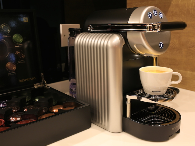 coffee machine with a box of coffee selection