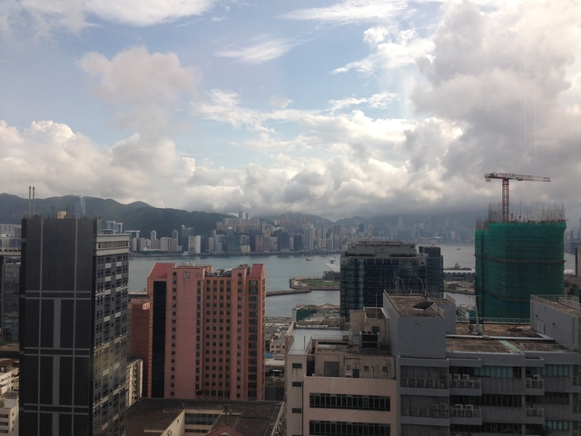 hong kong city view from the coworking space area