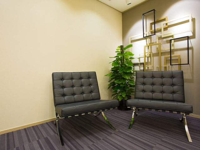 one of the corner of business lounge area with 2 chairs and plant