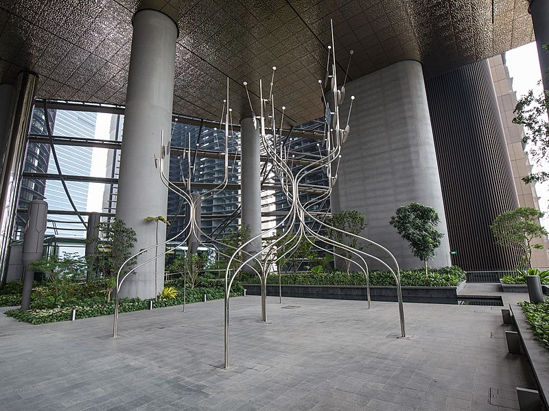 several silver art installations installed in the open space of a building