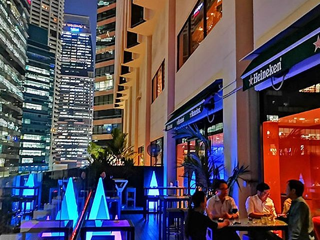 outdoor bar with city view at night