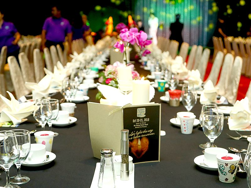 ballroom with long table dinner setup in singapore