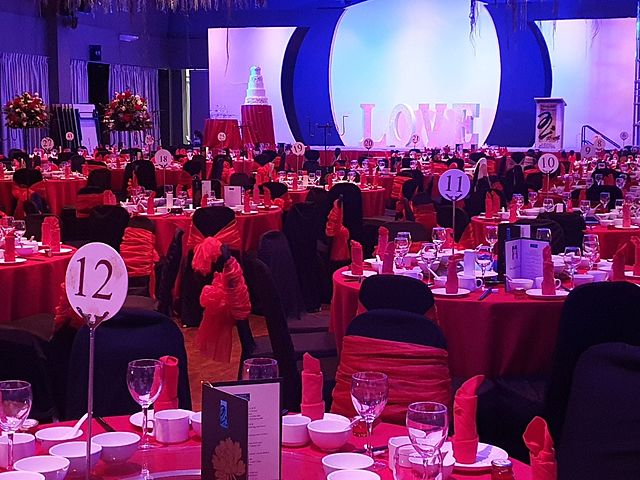 product launching dining event with red and black themes