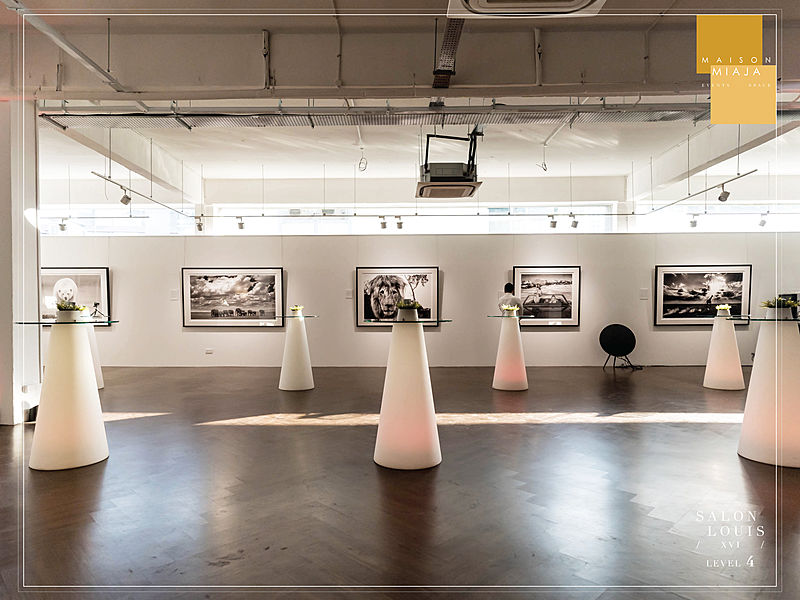 photography exhibition standing party set up
