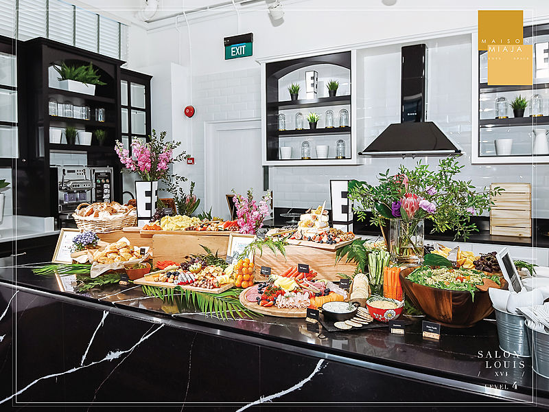 dessert table with green decoration
