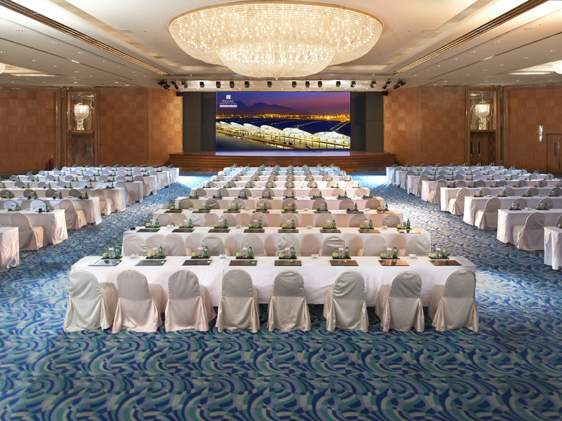 conference event setting in grand hotel ballroom