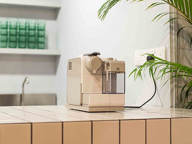 event space mini pantry with coffee machine