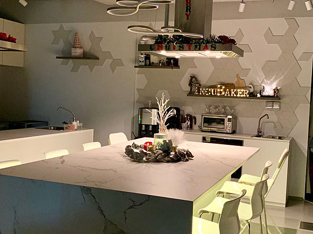 beautiful cooking studio with white dominant colour