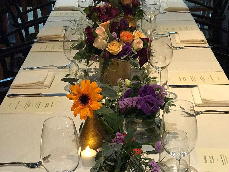 flower table decor with set of menu for each seat