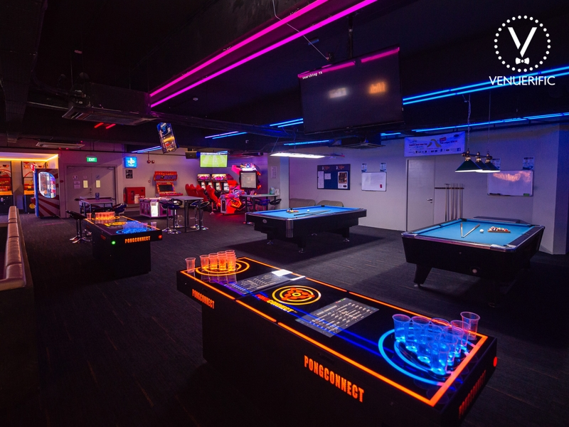 bar beer pong table and billiard table for event space