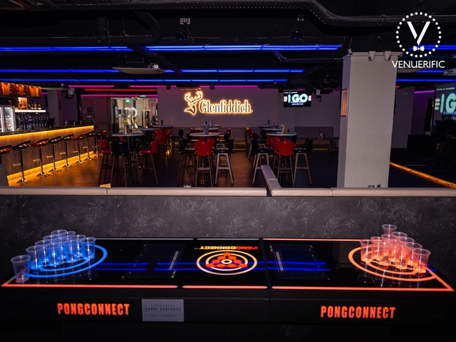 beer pong table and glenfiddich logo
