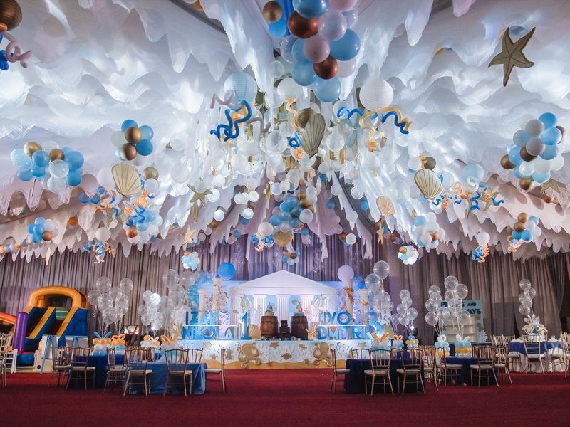 wedding party celebration with silver and blue decorations