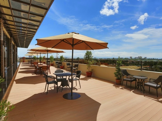 rooftop terrace area on sunny day