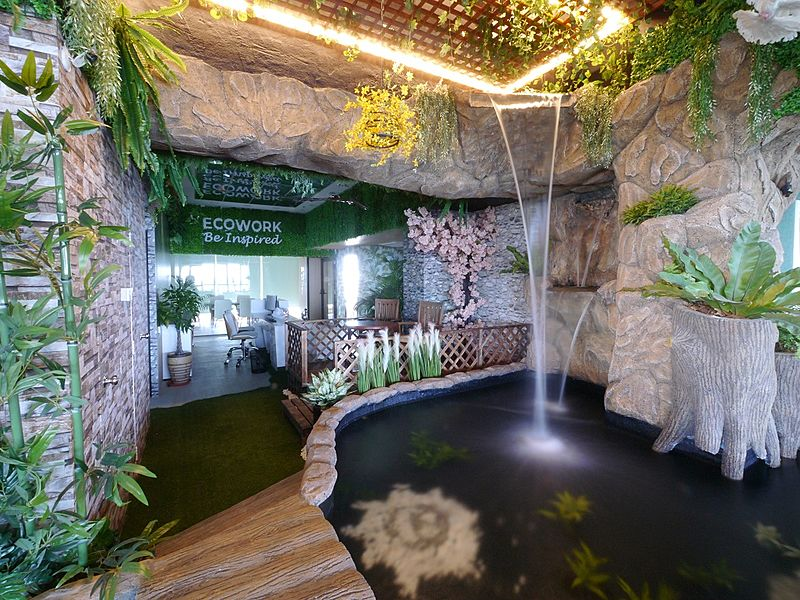 event space with indoor waterfall which is unique and excellent for networking