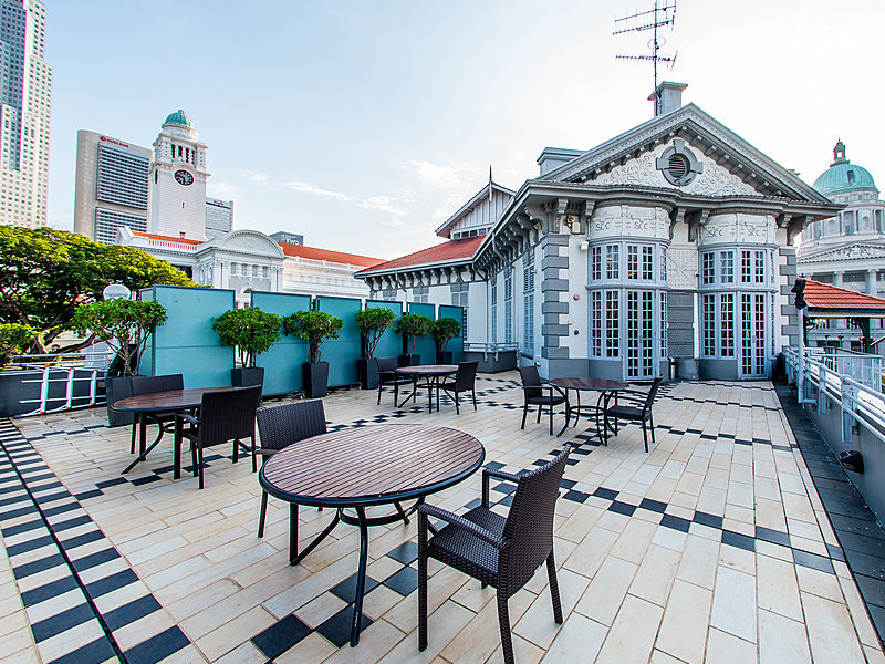 singapore rooftop event space with city view and round tables