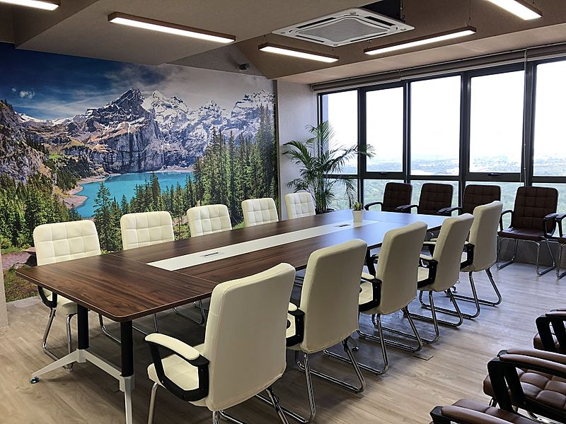big meeting room with natural light and mountain wallpaper