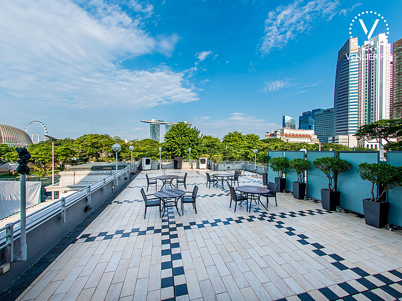 singapore rooftop event space with sky view and trees surrounds