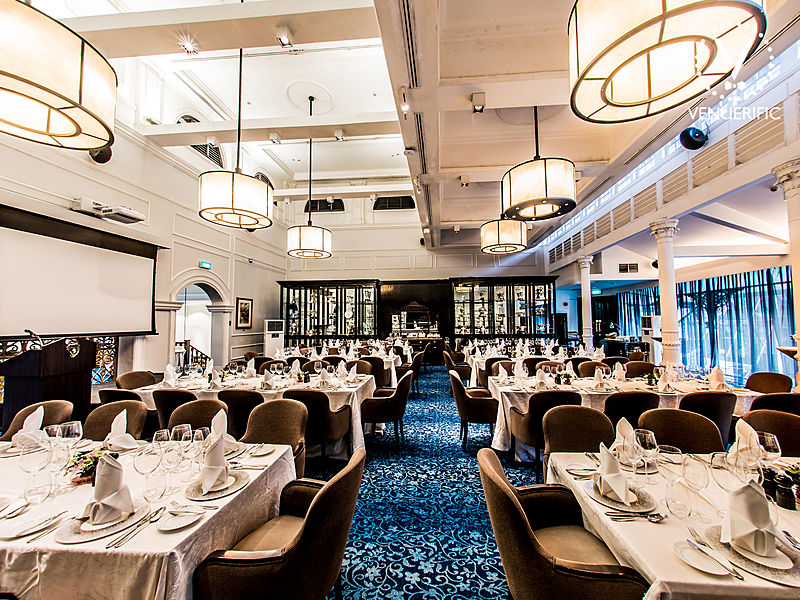 fine dining restaurant with projector screen and round pendant lights