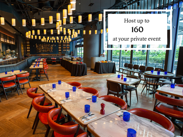 private event space can host for 160 capacity