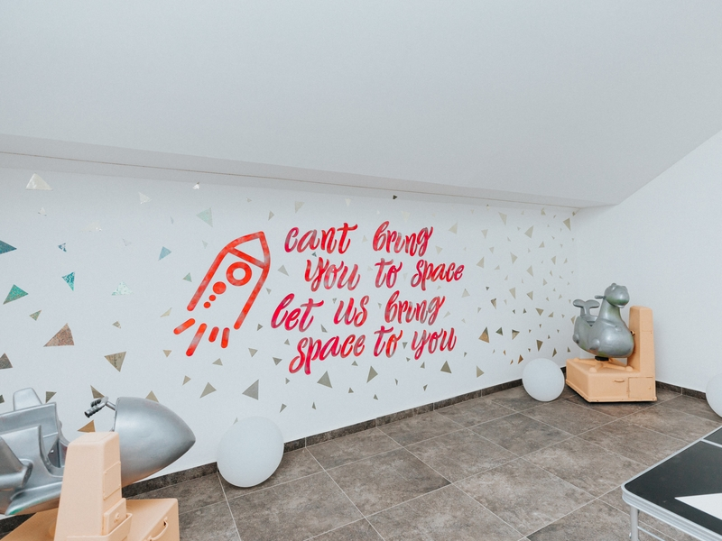 wall art quotes that says cant bring you to space let us bring space to you with rockets
