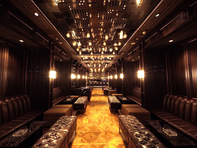 fashion show venue with brown themed room