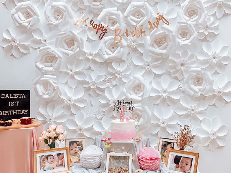 1st birthday event space in singapore with minimalist white decor