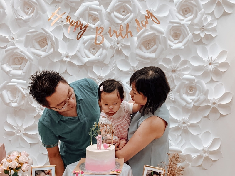 intimate kids birthday party venue in singapore with cake and flower decorations