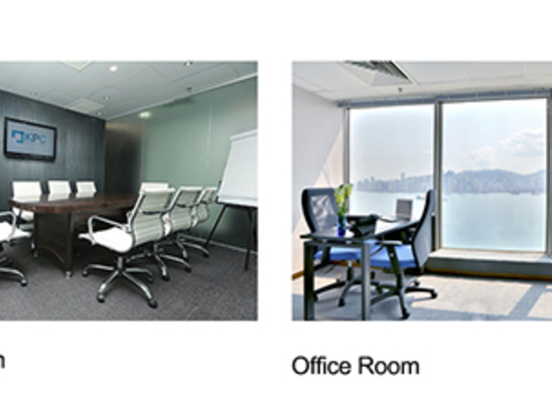private office room with floor to ceiling window