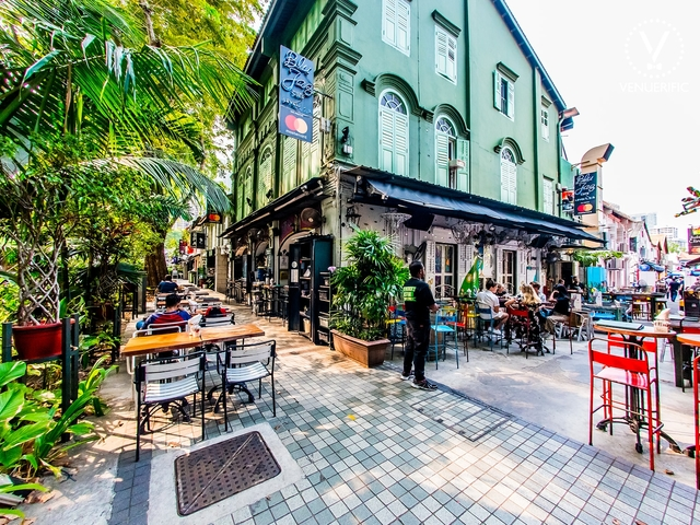 the exterior building of blu jaz cafe in the historic kampong glam