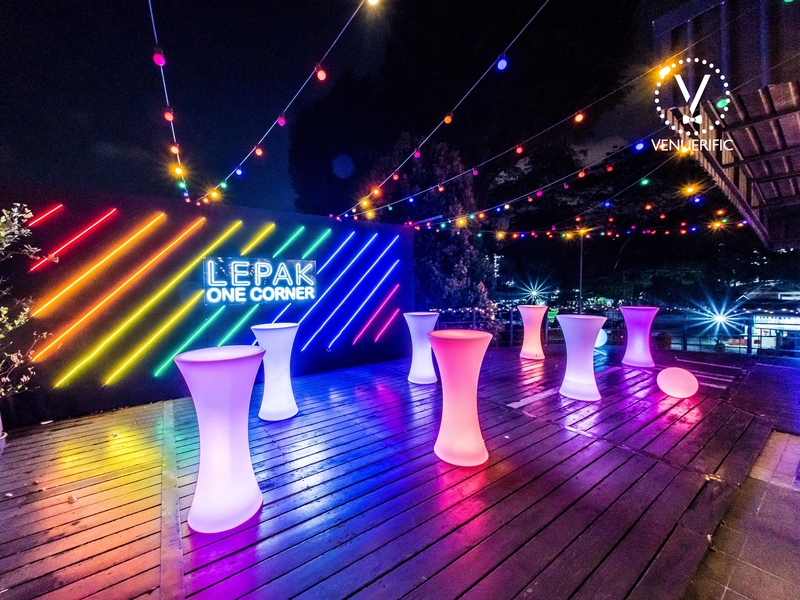 colourful cocktail tables in outdoor event space
