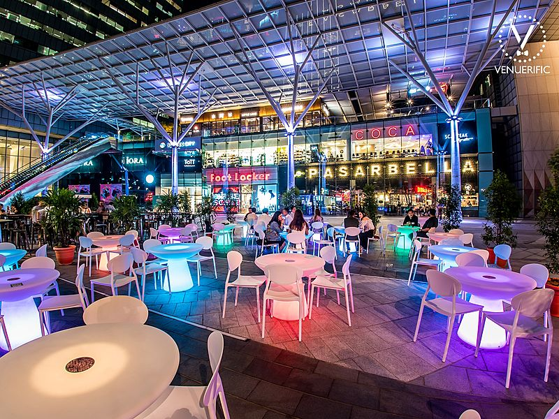 outdoor space with unique lighting table and colourful space