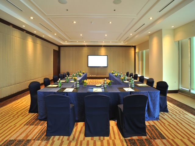 conference room setup at the private meeting room