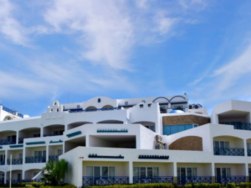 large resort in philippines with white-blue interior