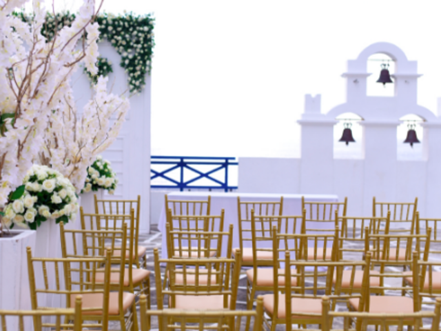 outdoor wedding space in rizal with white interior and bells