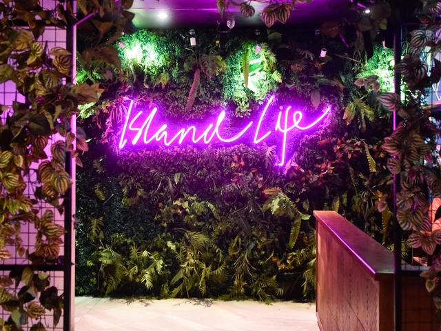 product launch event venue in philippines with neon lamps and indoor garden