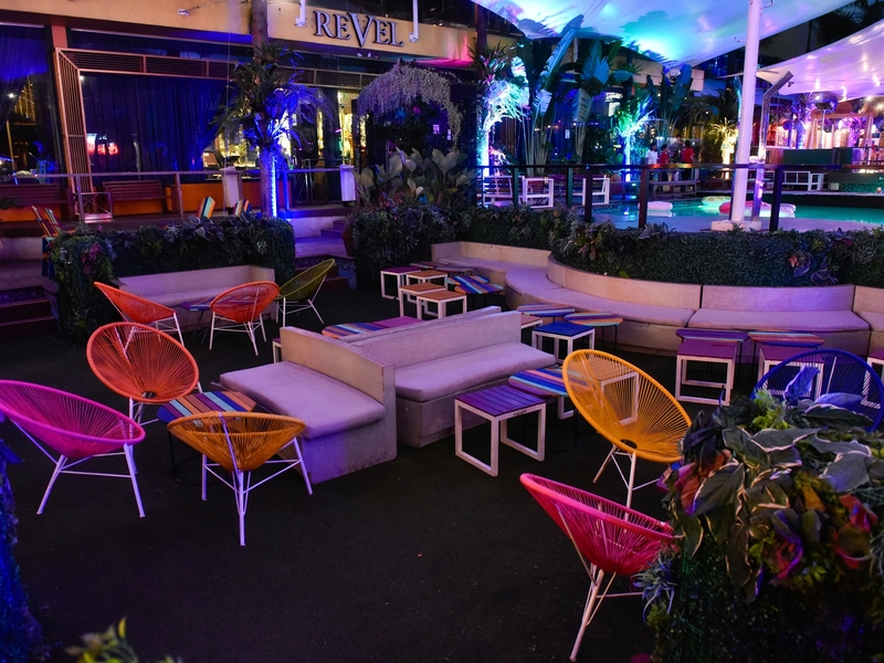 colourful low chairs and mini garden in philippines halloween party venue