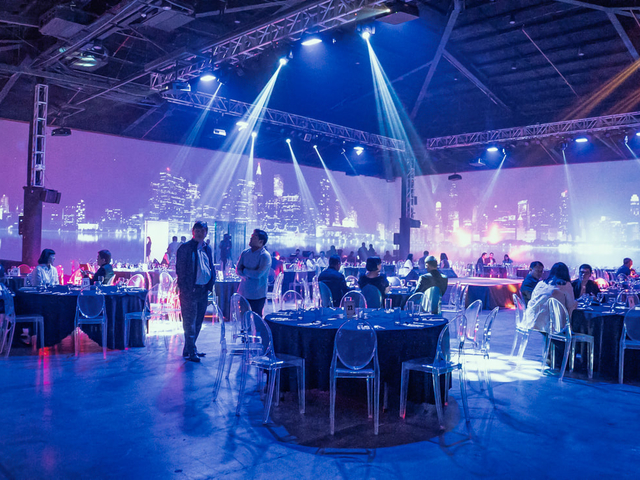company christmas party with 360 of led screen in the room