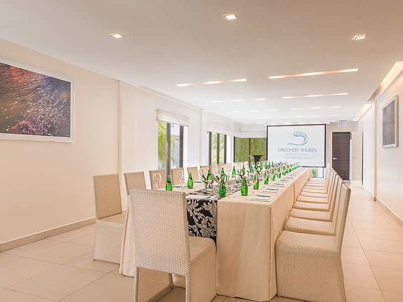 private meeting room with conference seating style
