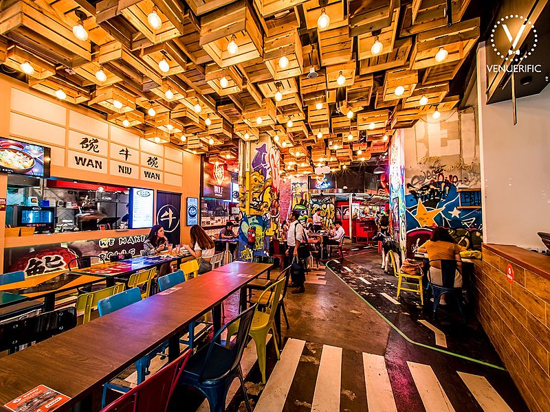 beautifully crafted space embraced by our brilliantly lit neon signs and graffiti walls