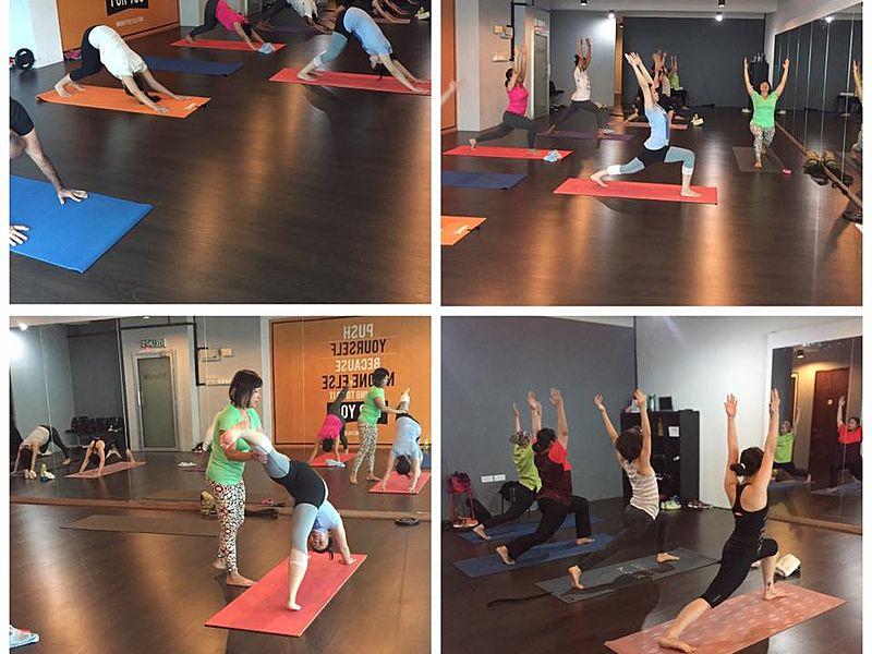 people joining a yoga class in studio petaling jaya
