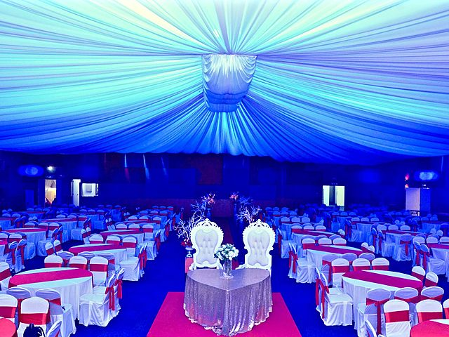 wedding party decoration with blue lighting