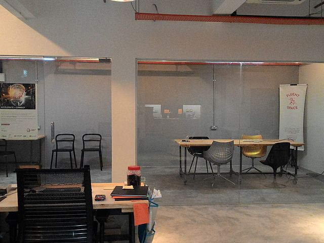 two glass private meeting room