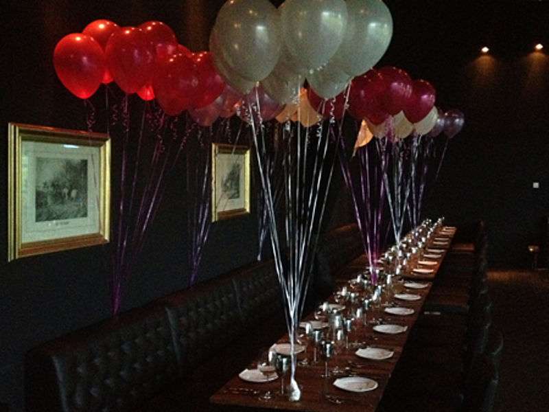 table decoration with balloons at the private dining room
