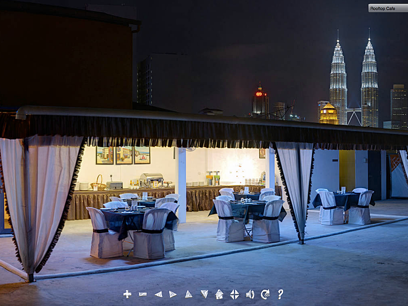 rooftop event space with petronas twin towers view