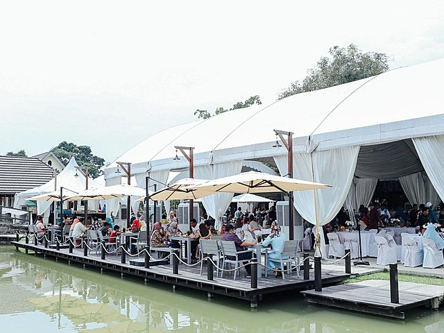 party area at deck around the lake