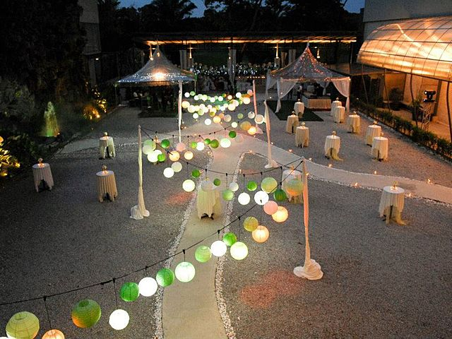 kuala lumpur outdoor party venue with pathway and lantern pendant lamp