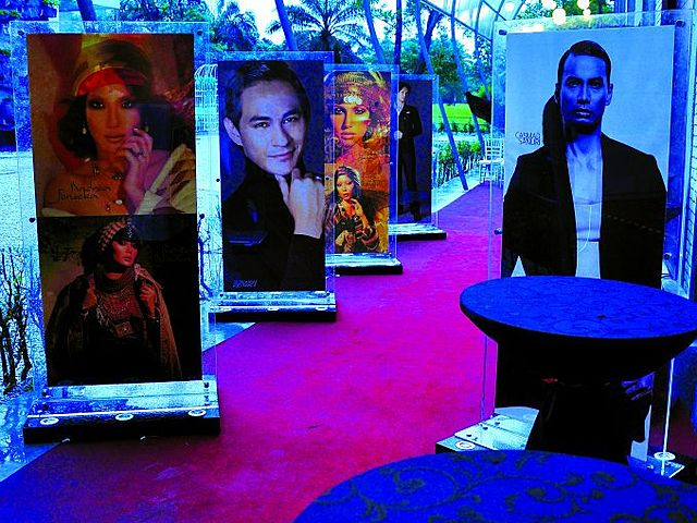 fashion week event venue with standing banner decoration and red carpet