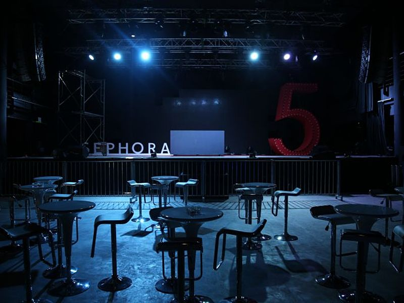 sephora launching product event set up with stange