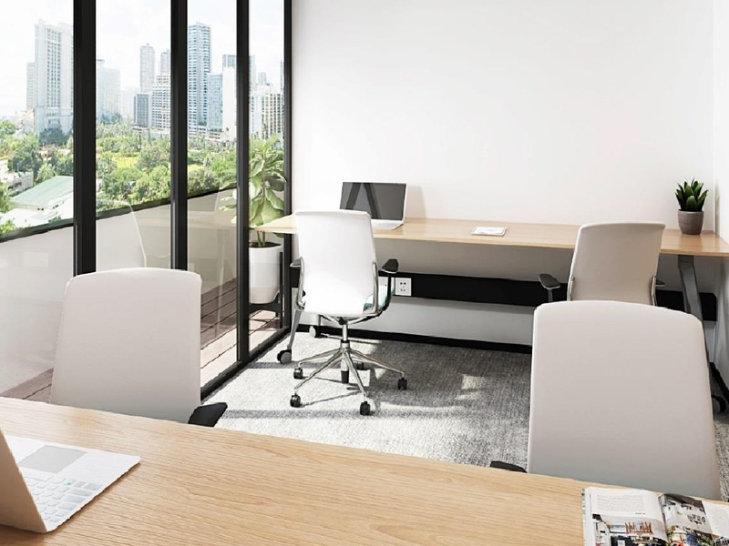 private office space with ceiling to floor window