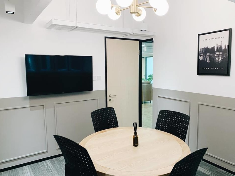 private meeting room with screen